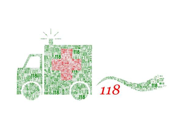 """logo della campagna con ambulanza disegnata attraverso l""""insieme di scritte 118"""