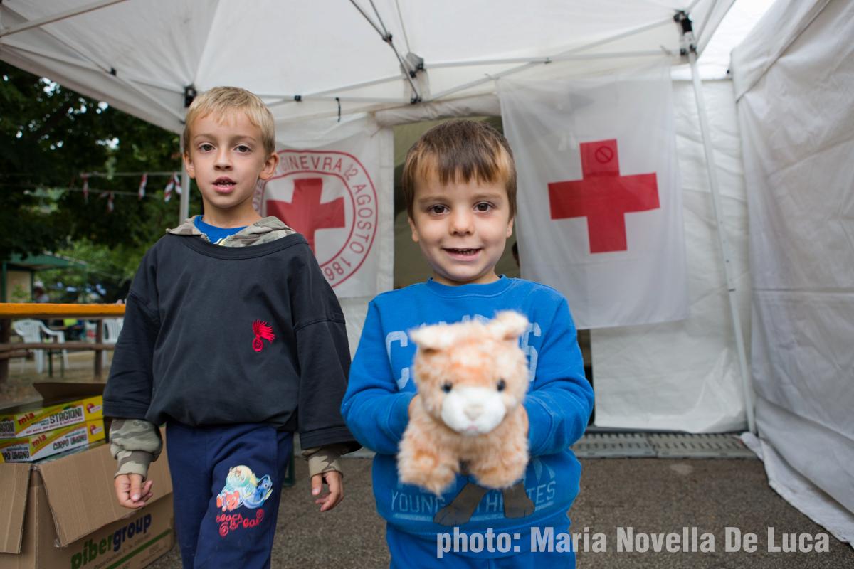 Ludoteca allestita da Croce Rossa nel Campo di Grisciano