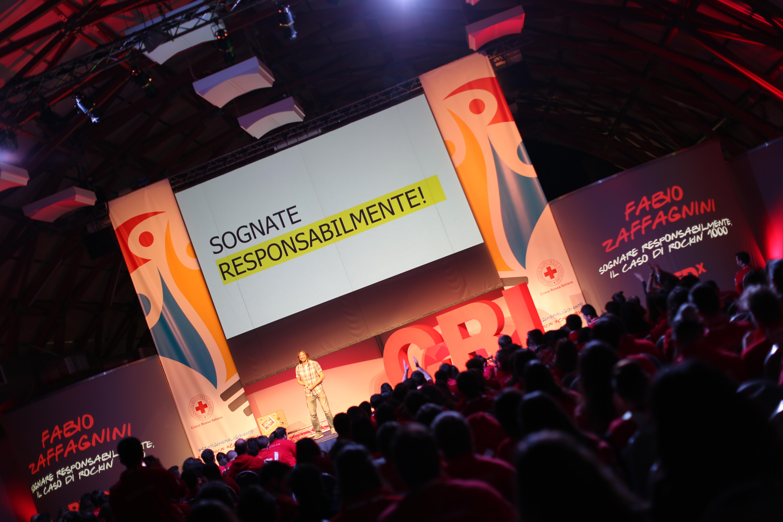 Il palco del RED durante l'Assemblea Nazionale dei Giovani della Croce Rossa Italiana