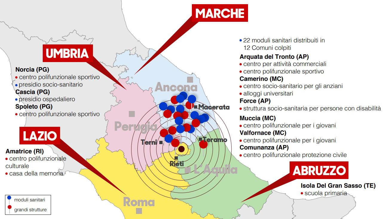 La cartina della ricostruzione in Centro Italia