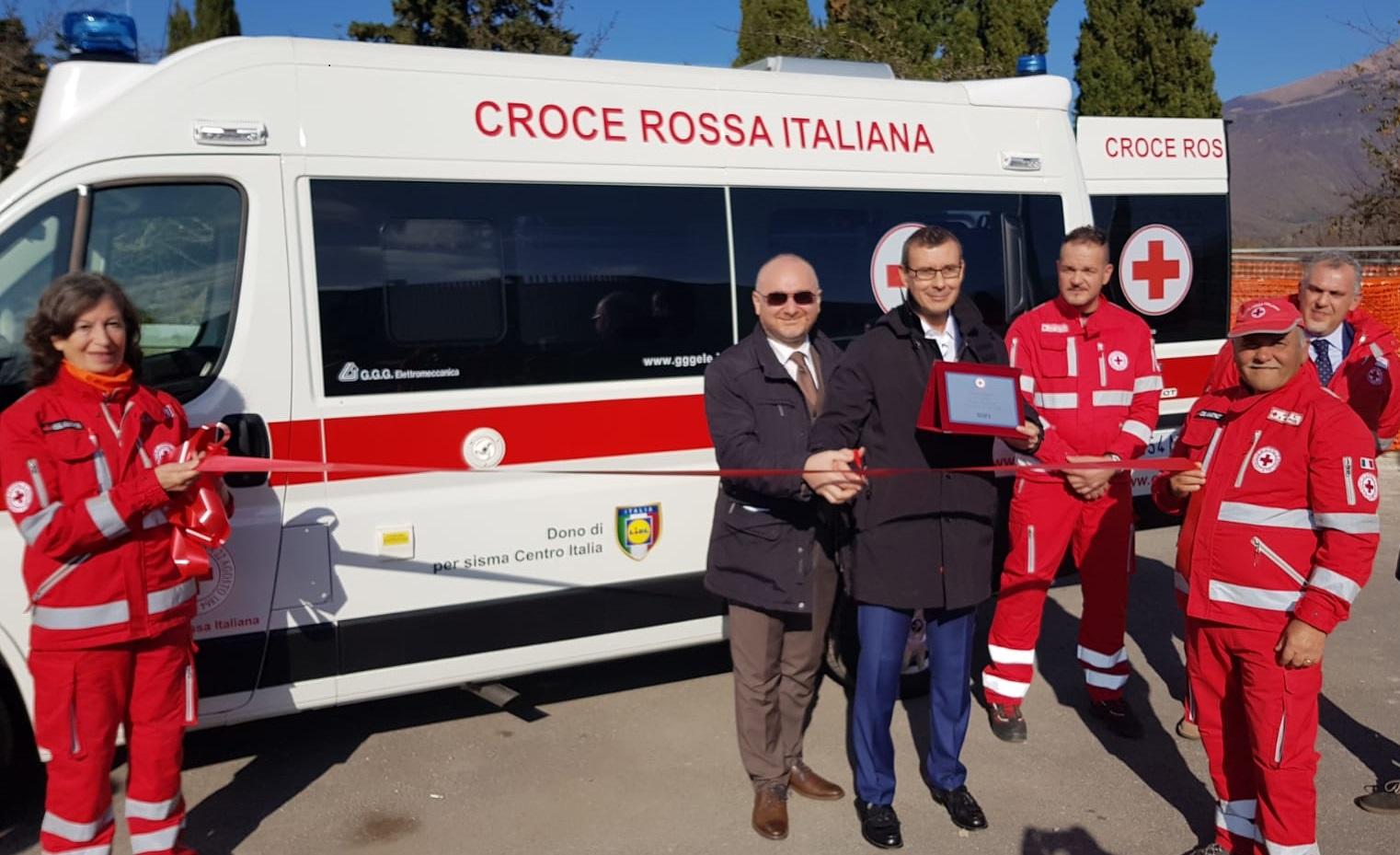 Amatrice: presentata la nuova ambulanza donata alla Croce Rossa da Lidl Italia